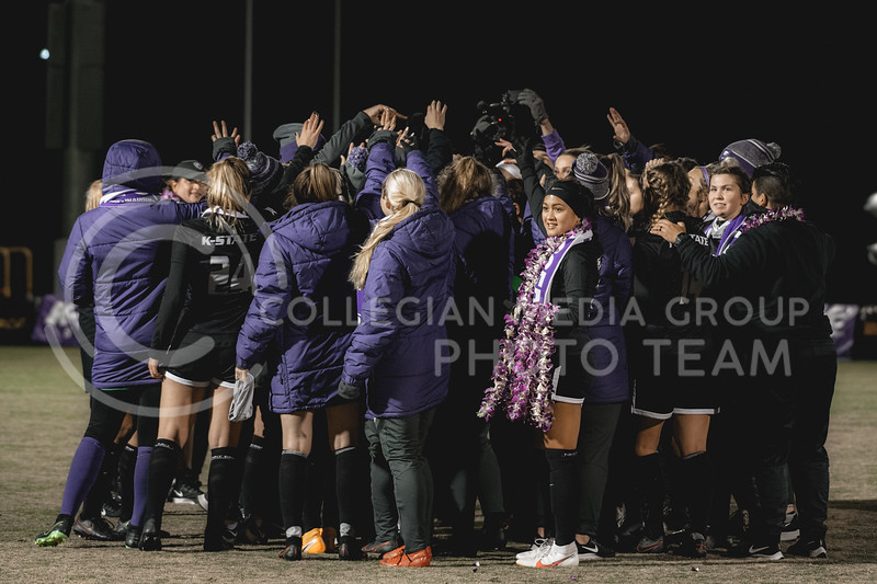 K-State Wildcats huddle together after facing Texas Tech. KSU finished the night 2-0 against TTU on senior night at Buser Family Park, Friday, November 13, 2020. (Dylan Connell   Collegian Media Group)