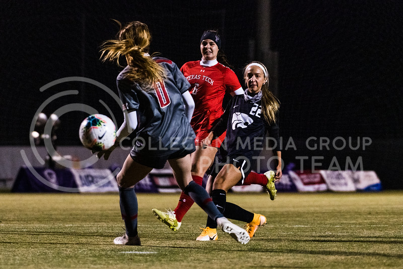 K-State Wildcat's forward, Maddie Weichel, Scores against Texas Tech in the final half of the soccer match. KSU finished the night 2-0 against TTU on senior night at Buser Family Park, Friday, November 13, 2020. (Dylan Connell   Collegian Media Group)