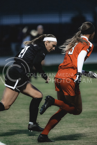 K-State Wildcat's senior defender, Shelby Lierz, challenges the Texas Tech attack from Texas Tech forward, Macy Schultz. KSU finished the night 2-0 against TTU on senior night at Buser Family Park, Friday, November 13, 2020. (Dylan Connell   Collegian Media Group)