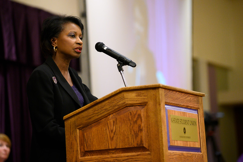 Board of regents member Cheryl Harrison-Lee speaks at the 3rd annual KSUnite event in the Union Ballroom on November 6th, 2019. (Dylan Connell | Collegian Media Group)