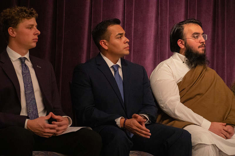 (from left to right) Student Body President Jansen Penny, HALO President Francisco Cardoza and Mohammad Khan at the 3rd annual KSUnite event on november 6th 2019 (Dalton Wainscott I Collegian Media Group)