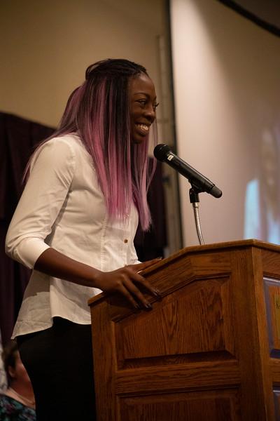 KSU Volleyball player Gloria Mutiri speaks at the 3rd annual KSUnite event on november 6th 2019 (Dalton Wainscott I Collegian Media Group)