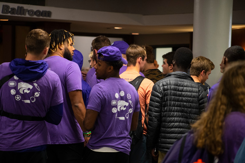 students and athletes unite as the wait to enter the 3rd annual KSUnite event on november 6th 2019 (Dalton Wainscott I Collegian Media Group)