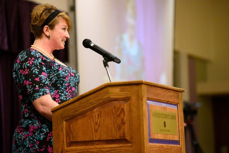 Lindsay Gutierrez speaks at the 3rd annual KSUnite event in the Union Ballroom on November 6th, 2019. (Dylan Connell | Collegian Media Group)