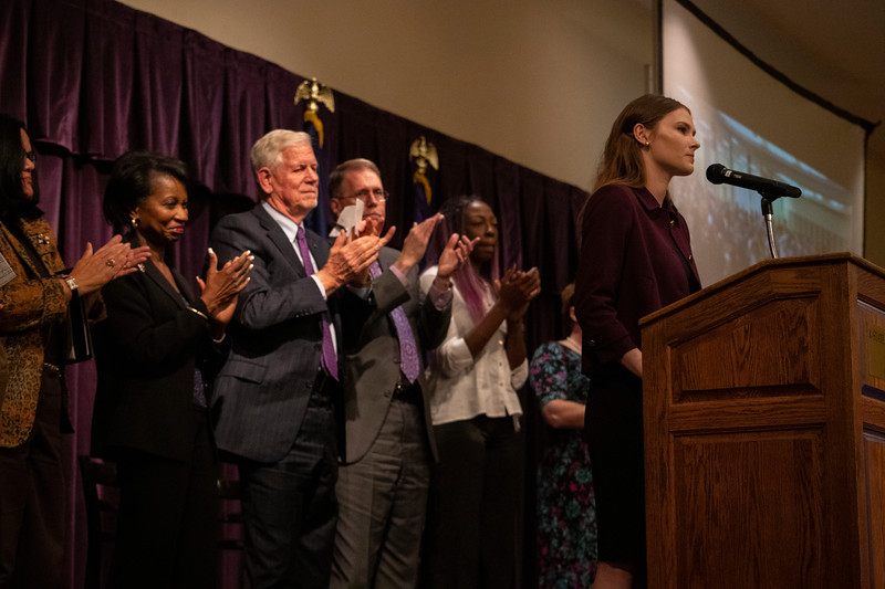 Polina Nations receives standing ovation from crowd and panel at the 3rd annual KSUnite event on november 6th 2019 (Dalton Wainscott I Collegian Media Group)