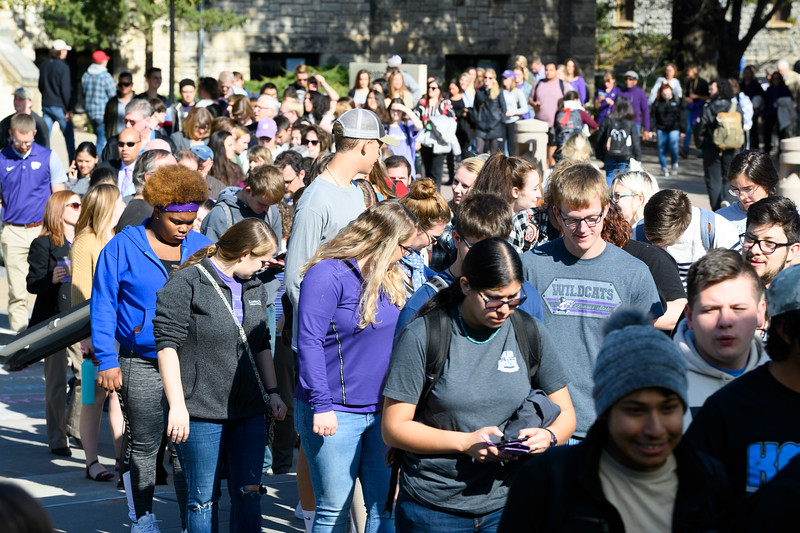 Students draw towards the union to support K-State in KSUnite. KSUnite took place in the Union Ballroom on November, 6. 2019. (Dylan Connell | Collegian Media Group)