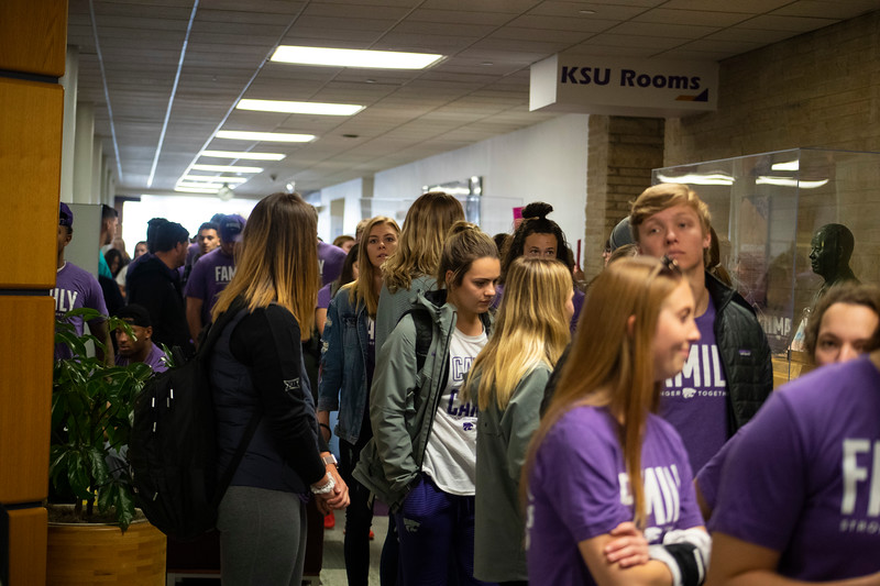 students and athletes wait to enter the 3rd annual KSUnite event on november 6th 2019 (Dalton Wainscott I Collegian Media Group)