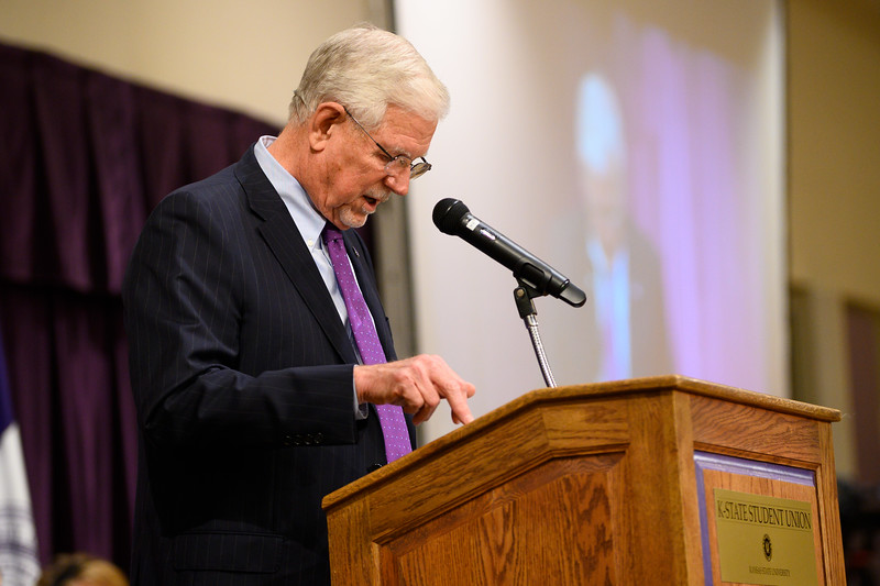 K-State President ,Richard Meyers, speaks at the 3rd annual KSUnite event in the student union Ballroom on ,November 6th, 2019. (Dylan Connell | Collegian Media Group)