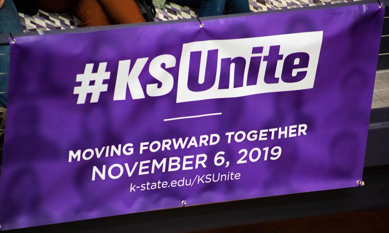 KSUnite sign at the 3rd annual KSUnite event on november 6th 2019 (Dalton Wainscott I Collegian Media Group)
