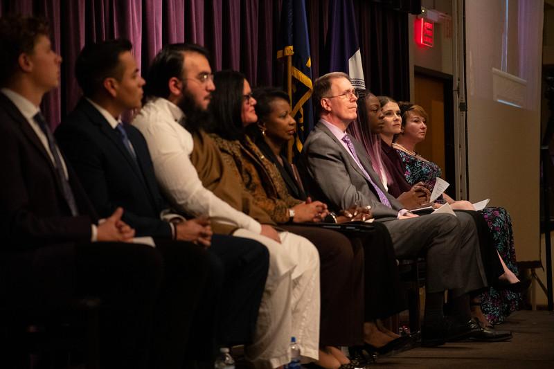 panel of speakers listen to President Richard Meyers at the 3rd annual KSUnite event on november 6th 2019 (Dalton Wainscott I Collegian Media Group)