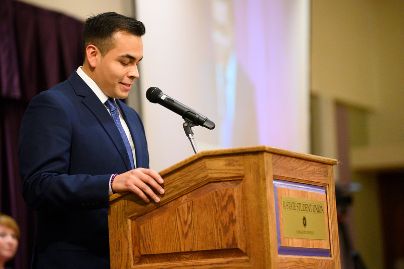 HALO President Francisco Cardoza speaks at the 3rd annual KSUnite event in the Union Ballroom on November 6th, 2019 (Dylan Connell I Collegian Media Group)