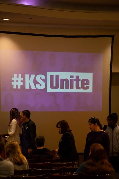 KSUNite sign on the screen in he wildcat ballroom at the 3rd annual KSUnite event on november 6th 2019 (Dalton Wainscott I Collegian Media Group)