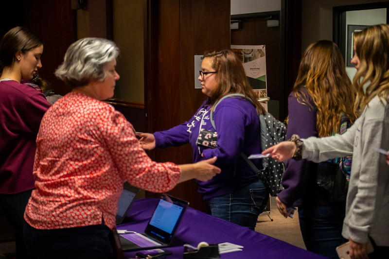 students have there student ID's scanned at the 3rd annual KSUnite event on november 6th 2019 (Dalton Wainscott I Collegian Media Group)