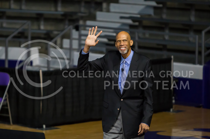 Six-time NBA champion Kareem Abdul-Jabbar is welcomed on stage by the K-State community on Feb. 6, 2018 in Bramlage Coliseum. Abdul-Jabbar interviewed with BSU members as well as answered questions from the crowd to end the evening. (Logan Wassall | Collegian Media Group)