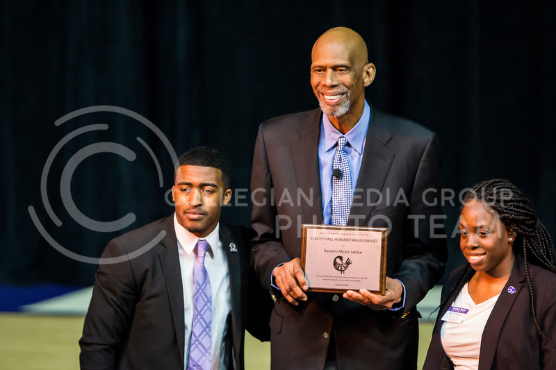 Six-time NBA champion Kareem Abdul-Jabbar recieves the Stacy Hall Humanitarian Award on Feb. 6, 2018 in Bramlage Coliseum. Abdul-Jabbar interviewed with BSU members as well as answered questions from the crowd to end the evening. (Logan Wassall | Collegian Media Group)