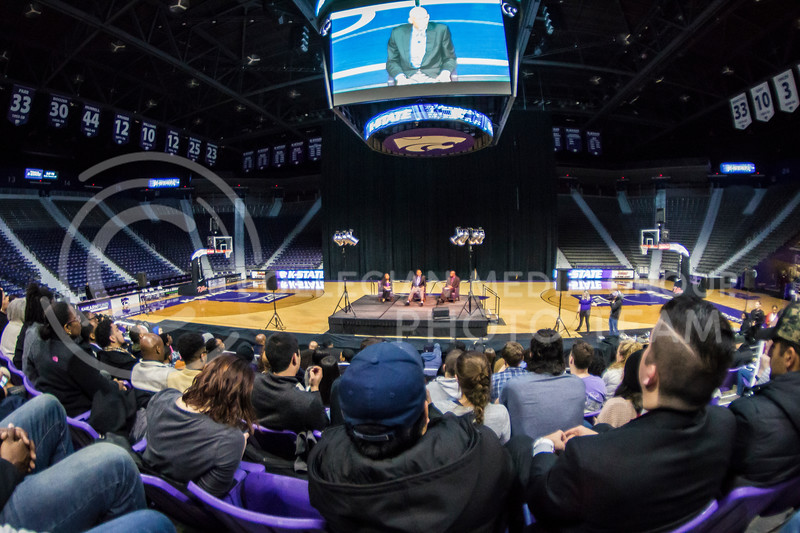 Six-time NBA champion Kareem Abdul-Jabbar speaks to the K-State community on Feb. 6, 2018 in Bramlage Coliseum. Abdul-Jabbar interviewed with BSU members as well as answered questions from the crowd to end the evening. (Logan Wassall | Collegian Media Group)