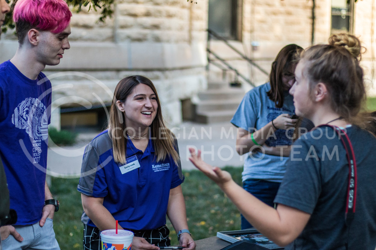 George Walker, Senior in Computer Science, Emily Lenk, Junior in Journalism/Mass Communications, and Emily Starkey, Junior in Journalism/Mass Communications at the 2017 anual Kedziepalooza at Kansas State University (Logan Wassall | Collegian Media Group)
