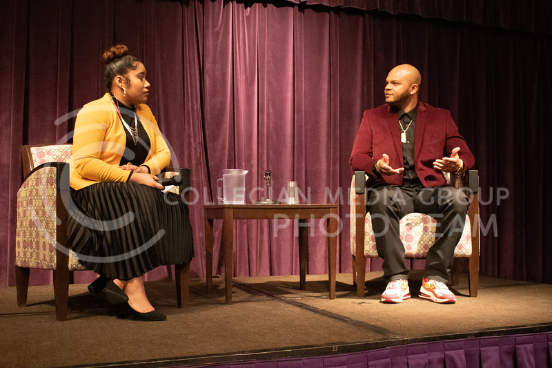 Kevin Richardson speaks at Black Student Union about the exonerated five in the union ballroom on February 17th, 2020. (Carter Lange | Collegian Media Group)