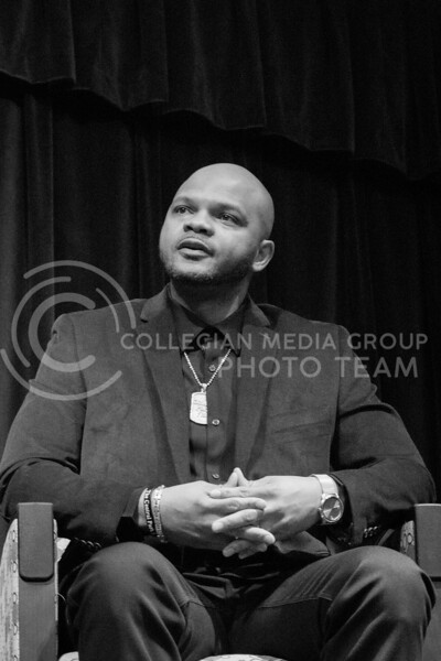 Kevin Richardson speaks at Black Student Union about his experience in the exonerated five in the union ballroom on February 17th, 2020. (Carter Lange | Collegian Media Group)