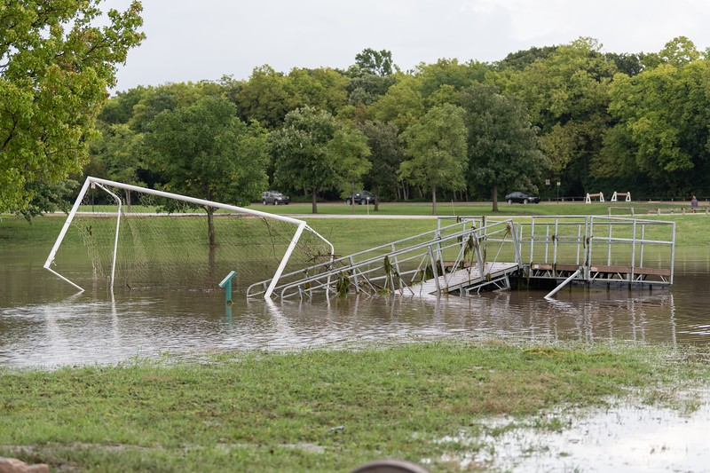 A soccer goal was carried out into the lake near Wildcat Creek. (Alex Todd | Collegian Media Group)