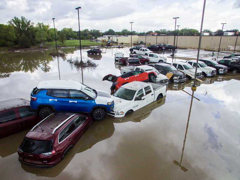 The parking lot of La Hacienda Taqueria and nearby businesses flooded after a severe rainstorm passed through on Sep. 2, 2018. Some businesses and homes had several feet of water on the first floors. The areas most affected were near Wildcat Creek, which was greatly overflowed. In some places, the water was forceful enough to pile cars on top of each other (Logan Wassall | Collegian Media Group)