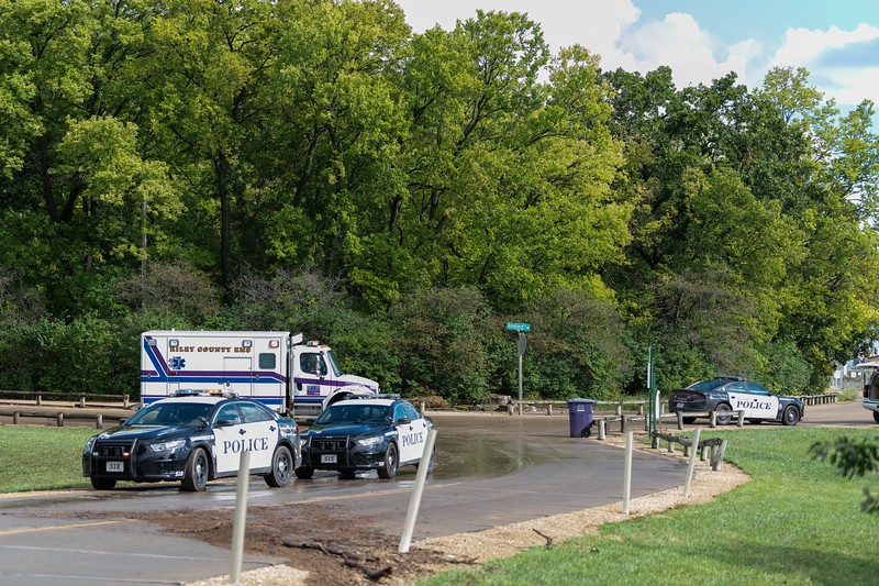 Monday afternoon at 4:07pm, a man was pulled from the water near Wildcat Creek by an RCPD officer and four firemen. The male was responsive, but had trouble communicating. He was quickly loaded into an ambulance and taken away. (Alex Todd | Collegian Media Group)