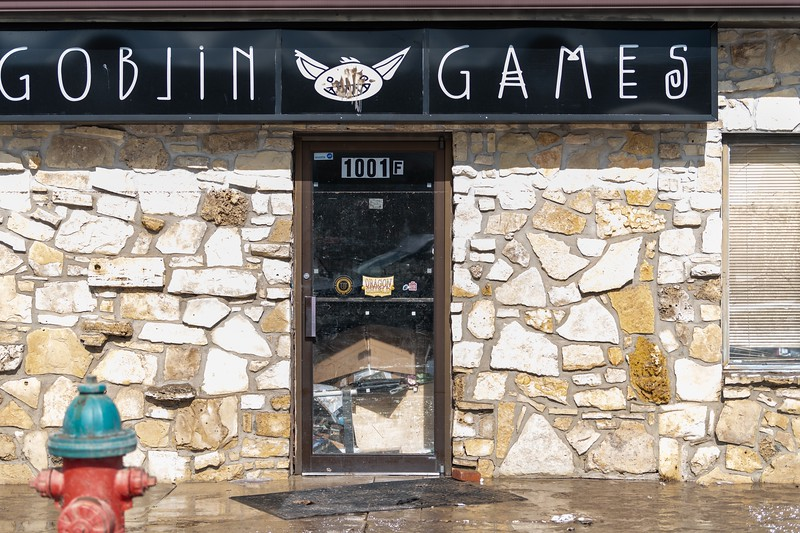 Stores like Goblin Games were completely flooded, with windows broken and water pouring out from underneath doors. (Alex Todd | Collegian Media Group)