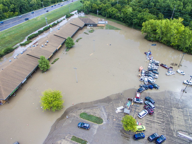 The parking lot of La Hacienda Taqueria and nearby businesses flooded after a severe rainstorm passed through on Sep. 2, 2018. Some businesses and homes had several feet of water on the first floors. The areas most affected were near Wildcat Creek, which was greatly overflowed. (Logan Wassall | Collegian Media Group)