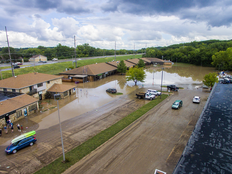 Parts of Manhattan, Kan. were flooded after a severe rainstorm passed through on Sept. 2, 2018. Some businesses and homes had several feet of water on the first floors. The areas most affected were near Wildcat Creek, which was greatly overflowed. (Logan Wassall | Collegian Media Group)