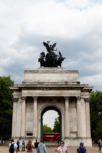 The Wellington Arch is located South East of Hyde Park. Atop the arch a quadriga statue sits as pedestrians pass through heading towards Buckingham Palace. The arch was concieved in 1827 and continued to mold in change, originally the statue atop the arch was a statue of 1st Duke of Wellington in celebration of the victory of the Napolionic Wars. (Olivia Bergmeier | Collegian Media Group)