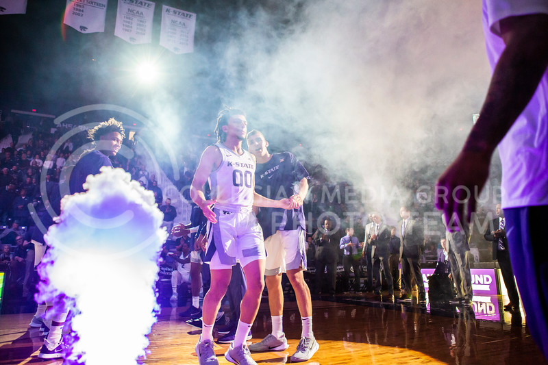 Junior guard Mike McGuirl is announced as a starter for K-State's basketball team's home opener against ESU in Bramlage Coliseum on Oct. 25, 2019. The Wildcats held the Hornets 86-49. (Logan Wassall | Collegian Media Group)