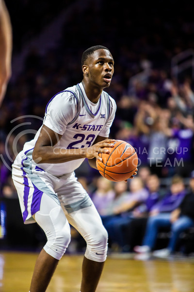 Freshman forward Montavious Murphy prepares to take a free throw during K-State's basketball team's home opener against ESU in Bramlage Coliseum on Oct. 25, 2019. The Wildcats held the Hornets 86-49. (Logan Wassall | Collegian Media Group)