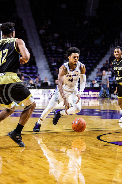 Junior guard David Sloan charges the basket during K-State's basketball team's home opener against ESU in Bramlage Coliseum on Oct. 25, 2019. The Wildcats held the Hornets 86-49. (Logan Wassall | Collegian Media Group)