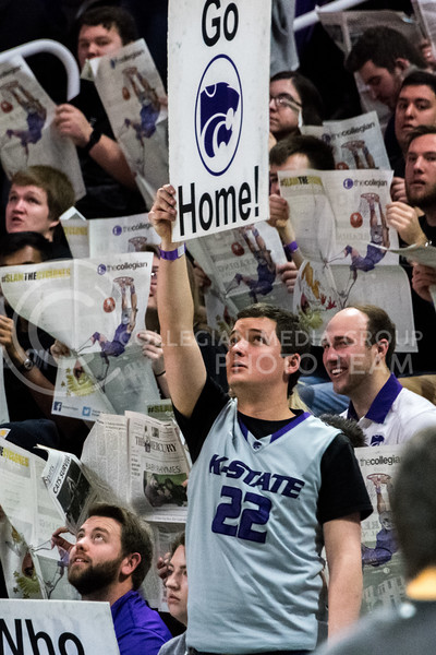 """""""Big deal! Go home!"""" shouts the student section during the K-State vs Iowa State basketball game in Bramlage Coliseum on February 27. (Alex Todd 