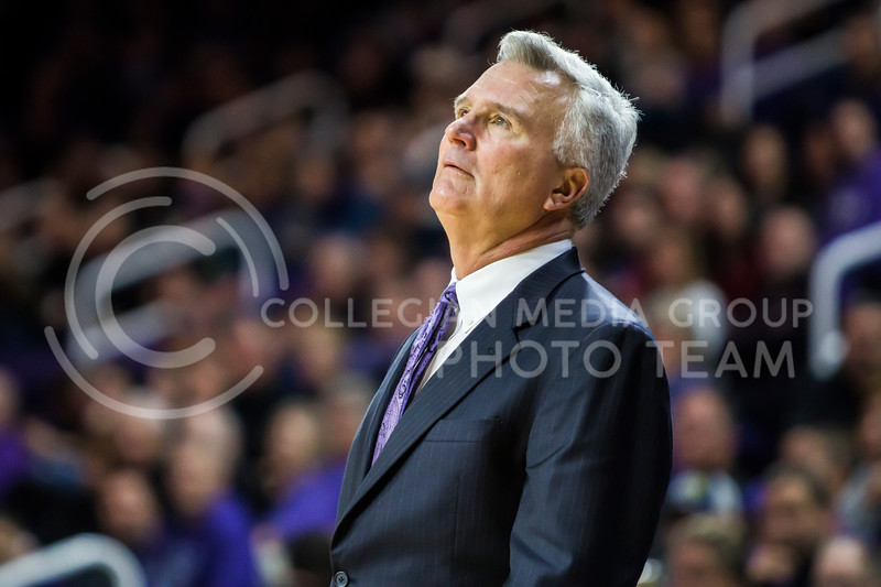 Men's basketball team head coach, Bruce Weber, coaches against Iowa State in Bramlage Coliseum on Feb. 17, 2018. The Wildcats defeated the Cyclones 78-66. (Logan Wassall | Collegian Media Group)