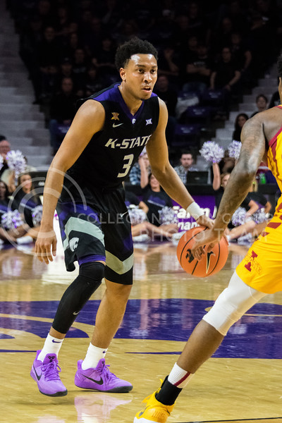 While on the offensive, K-State guard Kamau Stokes sets up the next play during the game against Iowa State on February 27. (Alex Todd | Collegian Media Group)