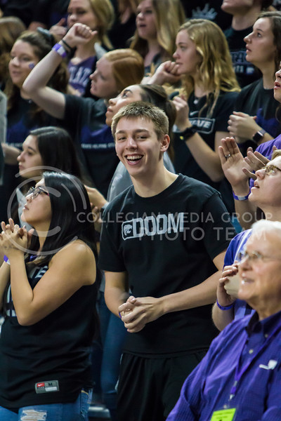 K-State fans cheer on the men's basketball team against against Iowa State in Bramlage Coliseum on Feb. 17, 2018. The Wildcats defeated the Cyclones 78-66. (Logan Wassall | Collegian Media Group)