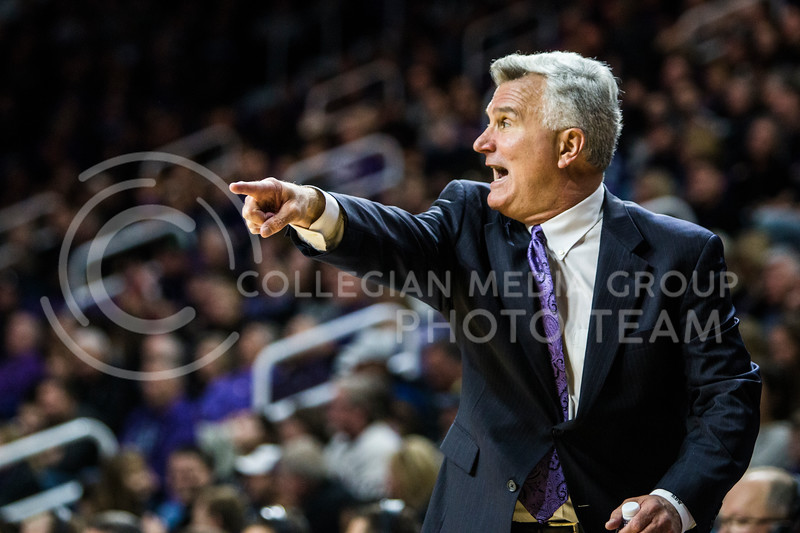 Men's basketball team head coach, Bruce Weber, coaches against against Iowa State in Bramlage Coliseum on Feb. 17, 2018. The Wildcats defeated the Cyclones 78-66. (Logan Wassall | Collegian Media Group)