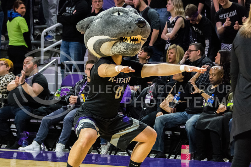 Willie shows off his dance moves during a timeout at the K-State vs Iowa State game on Saturday. (Alex Todd | Collegian Media Group)