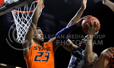 Senior forward Wesley Iwundu shoots the ball during the basketball game between K-State and Oklahoma State in Bramlage Colisium on Feb. 22, 2017. (Emily Starkey | The Collegian)