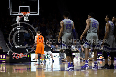 Oklahoma State gaurd Phil Forte shoots a free throw after a technical against K-State during the basketball game between K-State and Oklahoma State in Bramlage Colisium on Feb. 22, 2017. (Emily Starkey | The Collegian)