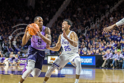 On Jan. 20, 2018, junior guard, Barry Brown, Jr., plays against TCU in Bramlage Coliseum. The Wildcats took the Horned Frogs 73-68. (Logan Wassall | Collegian Media Group)