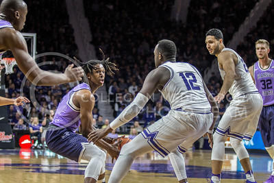 On Jan. 20, 2018, freshman guard, Cartier Diarra, plays against TCU in Bramlage Coliseum. The Wildcats took the Horned Frogs 73-68. (Logan Wassall | Collegian Media Group)