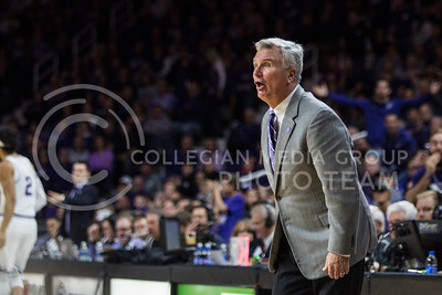 On Jan. 20, 2018, Bruce Weber coaches K-State against TCU in Bramlage Coliseum. The Wildcats took the Horned Frogs 73-68. (Logan Wassall | Collegian Media Group)