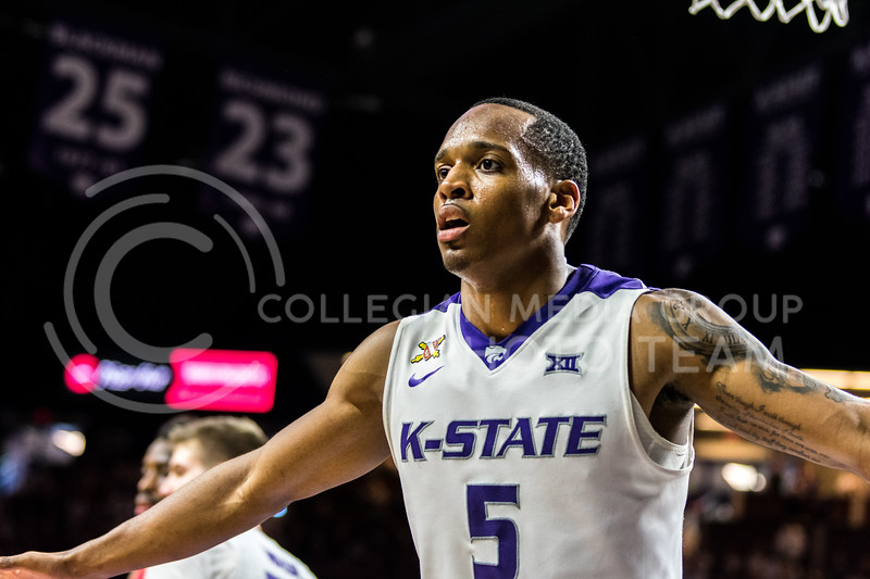 K-State Junior Guard Barry Brown flies into defense mode against the UGA Bulldogs during Saturday's game in Bramlage Coliseum. (Alex Todd   Collegian Media Group)