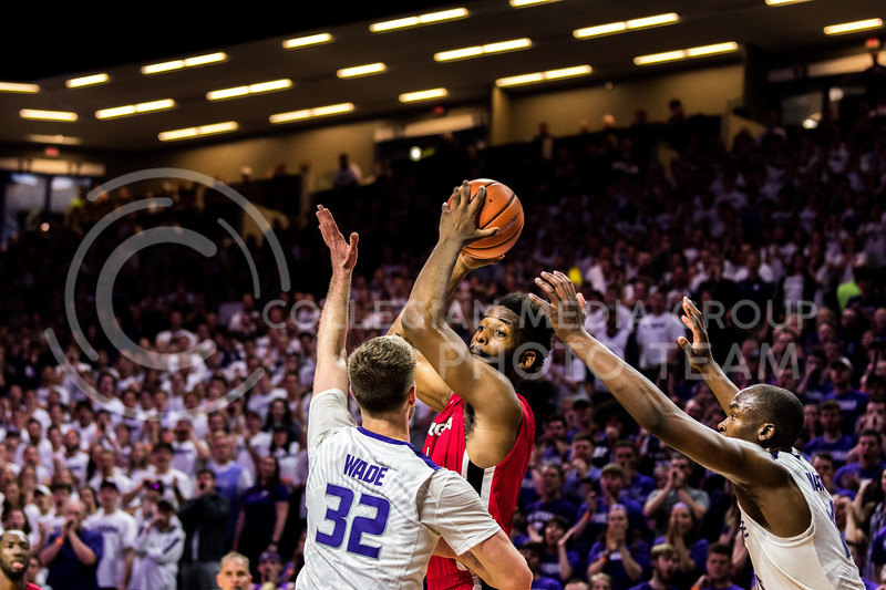 K-State Fowards Dean Wade and Makol Mawien jump up to block a pass from Georgia's Yante Maten. (Alex Todd   Collegian Media Group)