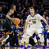Forward Dean Wade watches his oppenent carefully during the game against Texas in Bramlage Coliseum on Feb. 21. The Wildcats took the Longhorns 58-48. (Meg Shearer   Collegian Media Group)