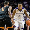 Guard Barry Brown Jr., looks to his oppenents to decide the best move during the game against Texas in Bramlage Coliseum on Feb. 21. The Wildcats took the Longhorns 58-48. (Meg Shearer   Collegian Media Group)