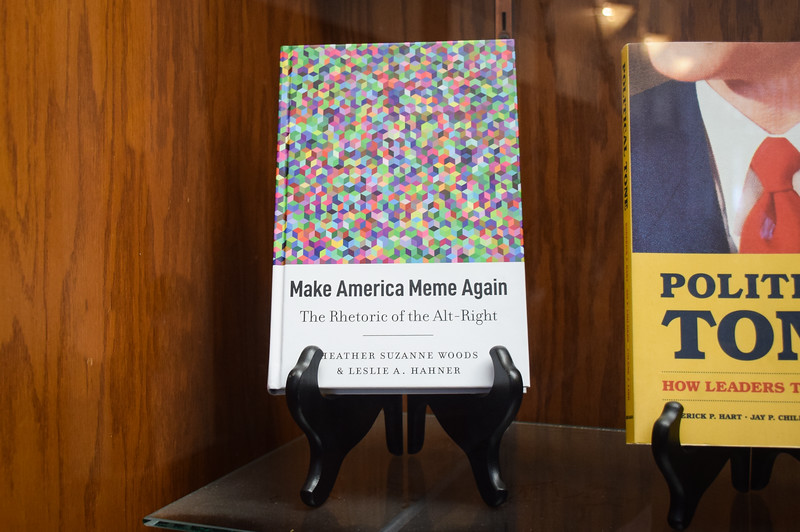 Dr. Heather Woods, Communications professor at K-State, published Make America Meme Again: The Rhetoric of the Alt-Right with Dr. Leslie Hahner in 2019. It is now on display in a trophy case in Nichols Hall.