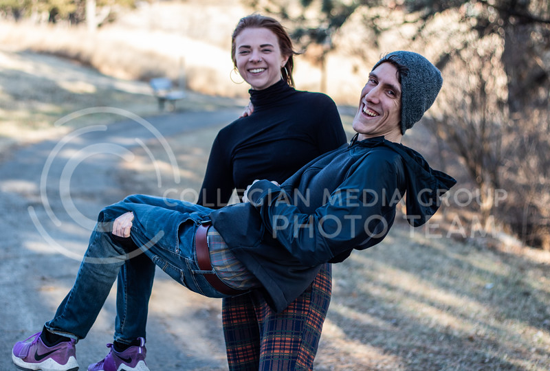 Sara lifting Anthony which she usually does at parties because Anthony is lighter than Sara. (Sreenikhil Keshamoni | Collegian Media Group)